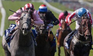 Lethal Force, ridden by Adam Kirby, wins the Darley July Cup at Newmarket