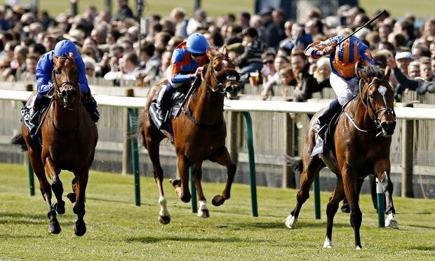 20150502 Gleneagles, ridden by Ryan Moore, winning the 2000 Guineas Stakes at Newmarket, from Territories,