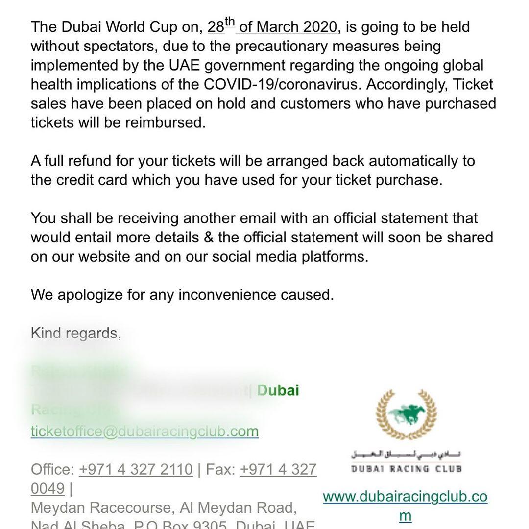 杜拜世界盃賽馬日很有可能閉門作賽(已正式公佈)