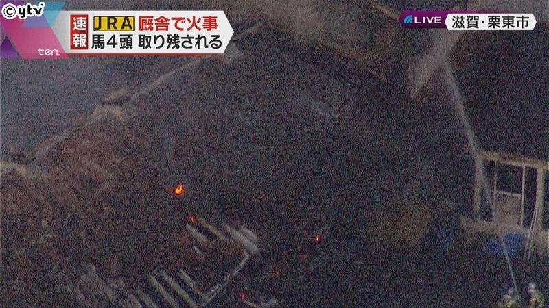 日本中央競馬會栗東練馬中心發生火災,最少四駒死亡
